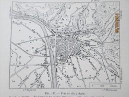 Plan De  La Ville De Agen    1940 - Maps