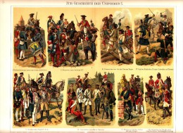 C1890 MILITARY UNIFORMS Prussia Russia England Austria Antique Chromolithograph Print - Old Paper