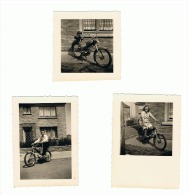 Lot 3 Photos (+/- 6 X 9 Et 6 X 6 Cm)  D´un  Vélo Moteur - Mobylette - OLDTIMER  (b19) - Cars