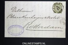 Belgium: Letter OBP 59 Antwerp To Amsterdam  1895