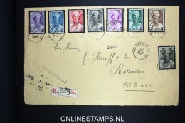 Belgium: Large Cover 1935 Registered Antwerp To Rotterdam, OBP 411 - 418