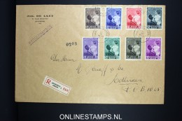 Belgium: FDC / Large Cover 1937 Registered Antwerp To Rotterdam, OBP 447 - 454  FDC