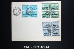 Belgium:  Cover 1947 , OBP 725 - 727 In 4 Blocks Int Tarda Show Cancels Cover Has A Small Damage Spot Left Corner