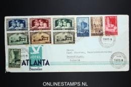 Belgium: Cover 1935 OBP 386 - 89 + 404 - 409 Hotel Atlanta Exhibition Cancels