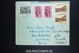 Belgium: Cover 1939 OBP 504 - 506 , 28e Salon De L'automobile Label On Back