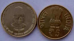 INDIA 5 RUPEE 2014  125 MAULANA ABUL KALIM AZAD UNC - India