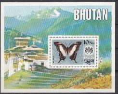BHUTAN 1975  Indigenous Indian Butterflies, Miniature Sheet. 10 NU, Yvert BF 63, MNH(**) - Bhutan