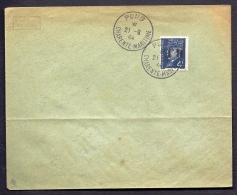 RARE LETTRE DE LA RÉSISTANCE- PONS N° 10 (17)-  SURCHARGE RENVERSÉE SUR PETAIN  4 Fr BLEU- - Poststempel (Briefe)
