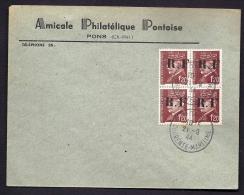 RARE LETTRE DE LA RÉSISTANCE- PONS N° 5 (17)- BLOC DE 4 PETAINS 1,20 FR SUR LETTRE A ENTETE- - Storia Postale