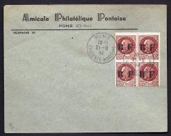 RARE LETTRE DE LA RÉSISTANCE- PONS N° 6 (17)- BLOC 4 PETAINS A 1 FR 50  SUR LETTRE A ENTETE- - Poststempel (Briefe)