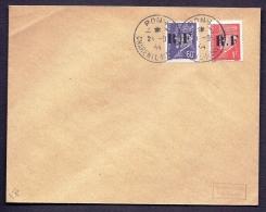 RARE LETTRE DE LA RÉSISTANCE- PONS  N° 1 + 4 (17)- TIMBRAGE PETAIN BICOLORE 1FR ET 60 CT- - Marcophilie (Lettres)
