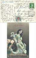 """Taxierte AK  """"Hoffnung - Mädchen Mit Anker""""  Einsiedeln - Wipkingen             1911 - Schweiz"""
