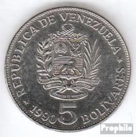 Venezuela KM-Nr. : 53 1990 Typ A.3 Vorzüglich Stahl, Nickel Plattiert Vorzüglich 1990 5 Bolivares Wappen - Venezuela