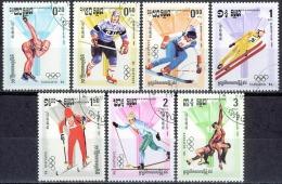 C082 SPORT OLYMPISCHE SPELEN OLYMPIC GAMES SARAJEVO 84 SKIING BIATHLON ICE HOCKEY CAMBODIA 1984 Gebr / Used - Hiver 1984: Sarajevo