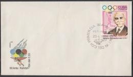 1984-FDC-13 CUBA. FDC. 1984. BARON COUBERTIN. COMITÉ OLIMPICO INTERNACIONAL. INTERNATIONAL COI. - FDC