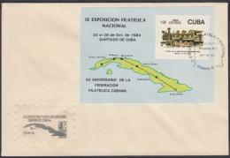 1984-FDC-30 CUBA. FDC. 1984. IX EXPOSICION FILATELICA. SANTIAGO DE CUBA. RAILWAY. TRAIN. RAILROAD. - FDC