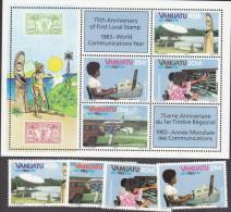VANUATU, 1983 COMMUNICATIONS 4+MINISHEET MNH - Vanuatu (1980-...)