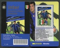 ITALIA TESSERA FILATELICA 2009 - INTER CAMPIONE D´ITALIA DI CALCIO SERIE A  2008 - 2009 - 323 - 6. 1946-.. Republik