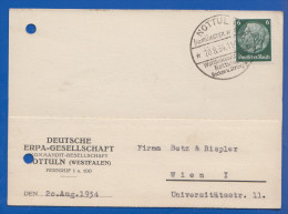 Deutschland; DR MiNr. 516 Hindenburg, 1934 Geschäftsbrief Von ERPA Gesellschaft Nottuln Mit Sonderstempel - Germany