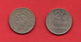BRASIL, 1967, XF Circulated Coin, 20 Centavos,  Copper Nickel Km579.1 C1788 - Brazilië