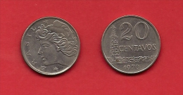 BRASIL, 1970, XF Circulated Coin, 20 Centavos,  Copper Nickel Km579.2 C1789 - Brazilië