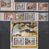 BHUTAN,1973, Indipex Philatelic Exhibition, 8v Complete Set & MS (IMPERFORATED), Postal Services,MNH(**) - Esposizioni Filateliche