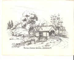 The Old Covered Bridge, Ayer's Cliff, Quebec Card  Carte Pont Couverte, Ayer's Cliff - Géographie
