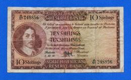South Africa 10 Shillings 1951 P91d Van Riebeeck F+ - Sudafrica
