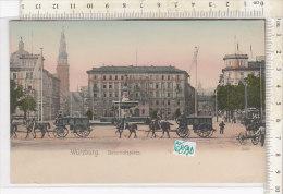 PO0859D# GERMANIA - GERMANY - WURZBURG - BAHNHOFSPLATZ - CARROZZE CAVALLI - Acquerellata  No VG - Wuerzburg