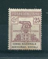 1924 ENTI PARASTATALI CASSA ASSICURAZIONI SOCIALI 25 C  NUOVO MNH - Franchigia