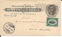 USA - 1901 - CARTE ENTIER POSTAL De NY Pour AACHEN (GERMANY)