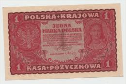 POLAND 1 MARKA 1919 AUNC+ PICK 23 - Poland