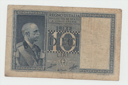 "ITALY 10 Lire 1939 ""F"" Pick 25c 25 C - [ 1] …-1946 : Koninkrijk"