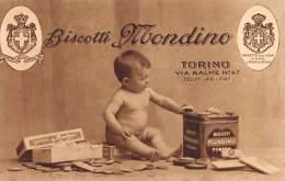 "03100  ""BISCOTTI MONDINO - TORINO - VIA BALME N° 47"" ANIMATA. CARTOLINA POSTALE. NON SPEDITA. - Publicidad"