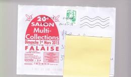 2015 01 24 Oblitération La Poste 21618A Sur Enveloppe 20e Salon Multi Collections Falaise - France