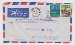 AFRIQUE DU SUD LETTRE COVER PER LUGPOS EAST LONDON 27 FÉVRIER 1962 VERS MASUREL FILS SA ROUBAIX NORD  - 2 Scans - - Afrique Du Sud (1961-...)