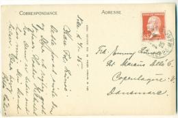 Yvert 175 Pasteur 45 C Seul Sur CPA Vers Le Danemark 1925 Dentelure Impeccable - Frankreich