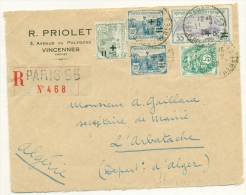 Yvert 164 + 165 + 166 Orphelins De La Guerre Sur Front D'enveloppe 1926 Vers L'Algérie Dentelure Impeccable - Frankreich