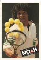 YANNICK NOAH - CARTE PUBLICITAIRE / Le Coq Sportif Photo Gianni Ciaccia - Raquette Et Balle De Tennis - Non Voyagée - Tennis