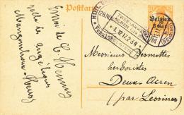 Entier Germania HEUSY Via VERVIERS 1917 Vers DEUX ACREN - Censure VERVIERS  - 21/668 - [OC1/25] Gouv. Gén.