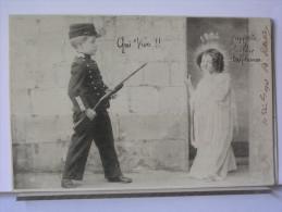 QUI VIVE!! J'APPORTE LE BONHEUR ET L'ESPERANCE - ENFANTS - SOLDAT - DOS SIMPLE - 1903 - Nouvel An
