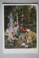 """OLD Soviet  Postcard  - """"Having Rest"""" By Fedorov - Dog - 1967 - Guitar - Chiens"""