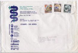 Milano 2.4.1988 - Castello L.100 + L.150 + L.600 Su Busta Stampe Via Aerea Diretta In Belgio - 6. 1946-.. Repubblica