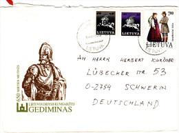 """Litauen 1991- 1993  MiNr. 492, 510, 510  Brief / Cover ;  """"Vytas"""", Trachten - Lithuania"""