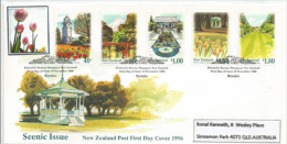 Série Tourisme. Scenic New-Zealand ! . Enveloppe FDC Adressée En Australie (1996) Yv. Nr 1500/04 - FDC