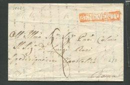 1842  RARA PREFILATELICA DA  BENEVENTO IN  CARTELLA ARANCIONE  X  ROMA TASSAZIONE 8  CON INTERESSANTE TESTO - Italia