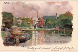 BERLIN Spreeufer Hinter D Zelten Künstlerkarte Signiert Kley 27.4.1904 Autograf Adel An Freiherrn Von Koenig Warthausen - Kley