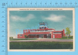 CPSM, Massachusetts ( Used In 1954, Municipal Airport  New Bedford) Linen Postcard Recto/Verso - Altri