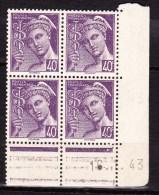 N° 413 Bloc En Coins Daté Type Mercure16.1.43  Avec Double Bande Publicitaire Neuf Impéccable - Dated Corners