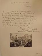 Planche MEMORIAL DES ALLIES 1914-1918. Bernard Naudin. 1926. (Signataire Américain) MAJOR T. ALLEN - Manuscrits